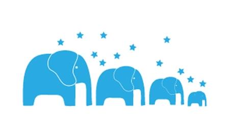 מדבקת קיר ילדים - פילים