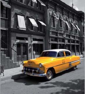 תמונת טפט לקיר - רחוב ש/ל עם מונית צהובה