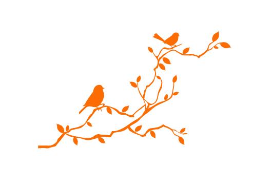 מדבקת קיר - ציפורים ל ענף
