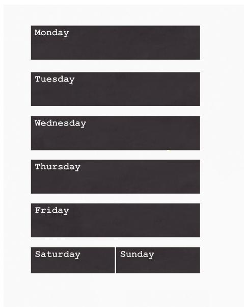 מדבקת לוח גיר - ימות השבוע