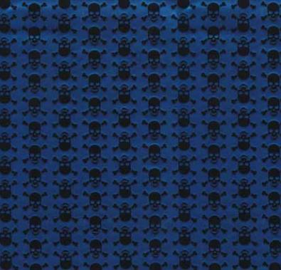 טפט להדבקה עצמית - גולגולות כחול מטאלי
