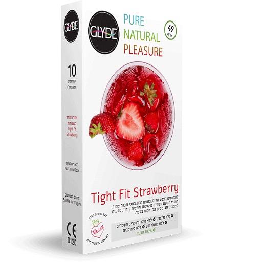 10 קונדומים גלייד צמוד בטעם וריח תות