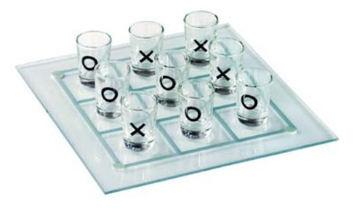 משחק איקס עיגול עם כוסות שוטים