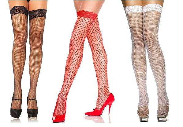 גרביון ירך בדוגמת רשת לבן/שחור/אדום