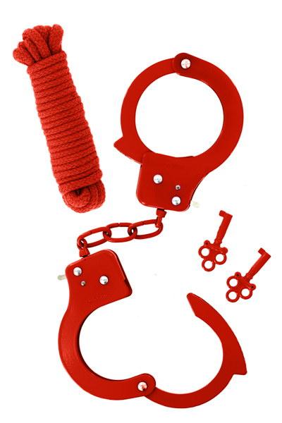 סט אזיקי ידיים וחבל קשירה 3 מטר בצבע אדום