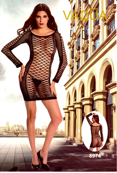שמלת מיני רשת עם שרוולים ארוכים