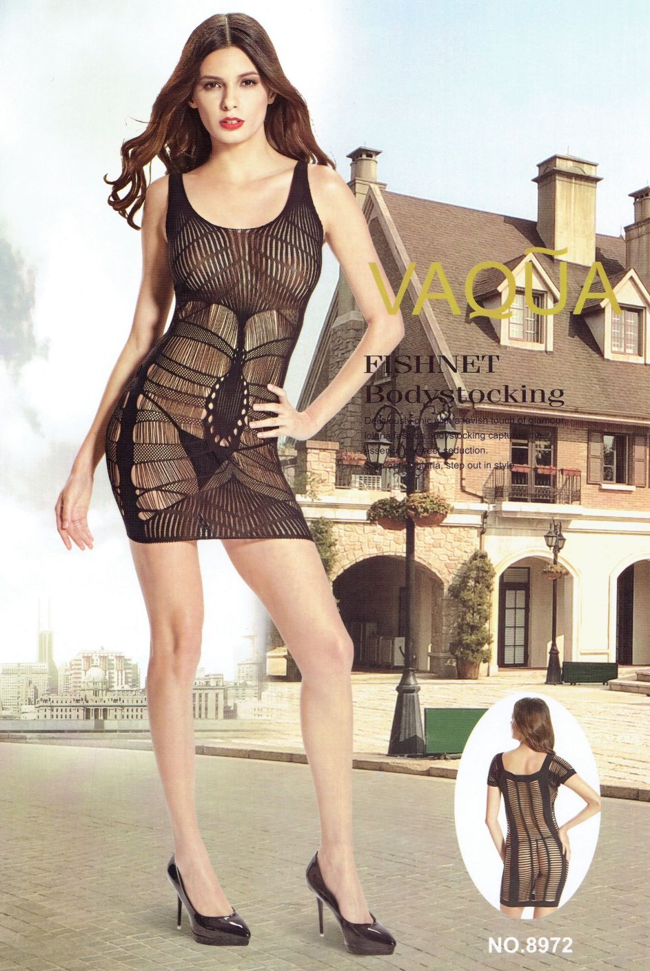 שמלת מיני מרשת חצי שקוף מקדימה ומאחורה