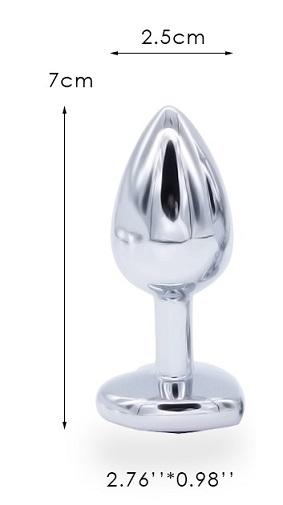 באט פלאג ממתכת ניקל עם אבן זכוכית לקישוט במידה S
