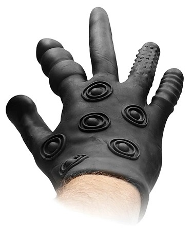 כפפת סיליקון עם 5 אצבעות שונות לחדירה