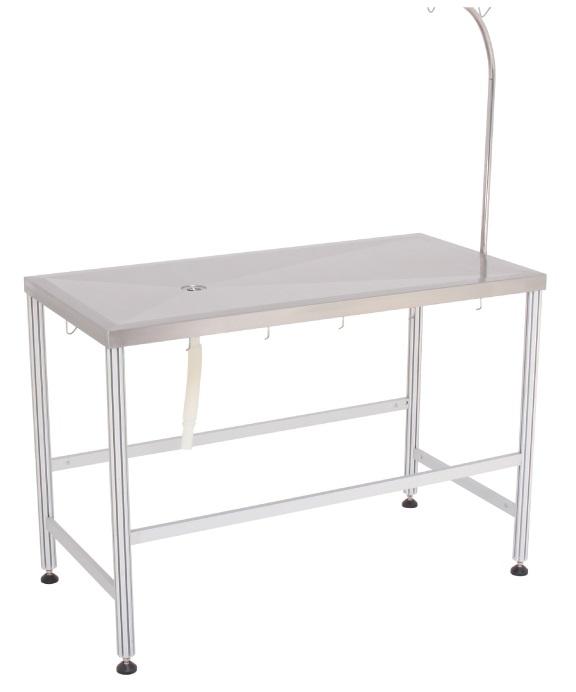 שולחן טיפולים קבוע נירוסטה מידות 120X60X90