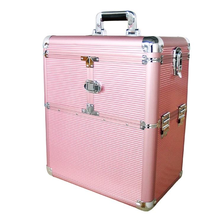 מזוודה בנונית אלומיניום לציוד טיפוח עם גלגלים
