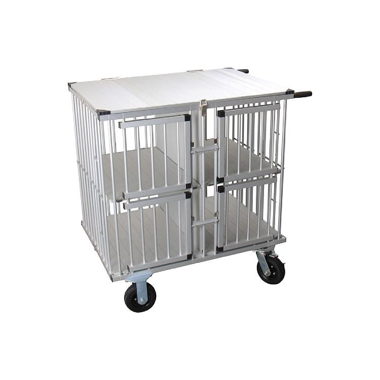 כלוב נייד לתערוכות עם חלוקה עד 4 תאים ומשטח עבודה