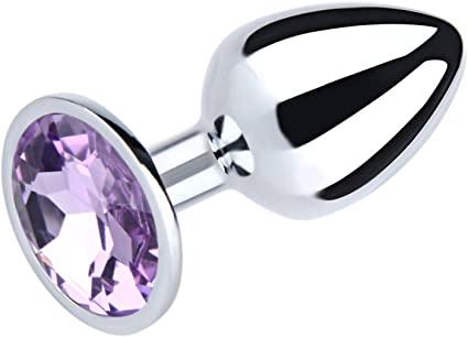 פלאג אנאלי מתכתי קטן עם אבן סגול בהיר