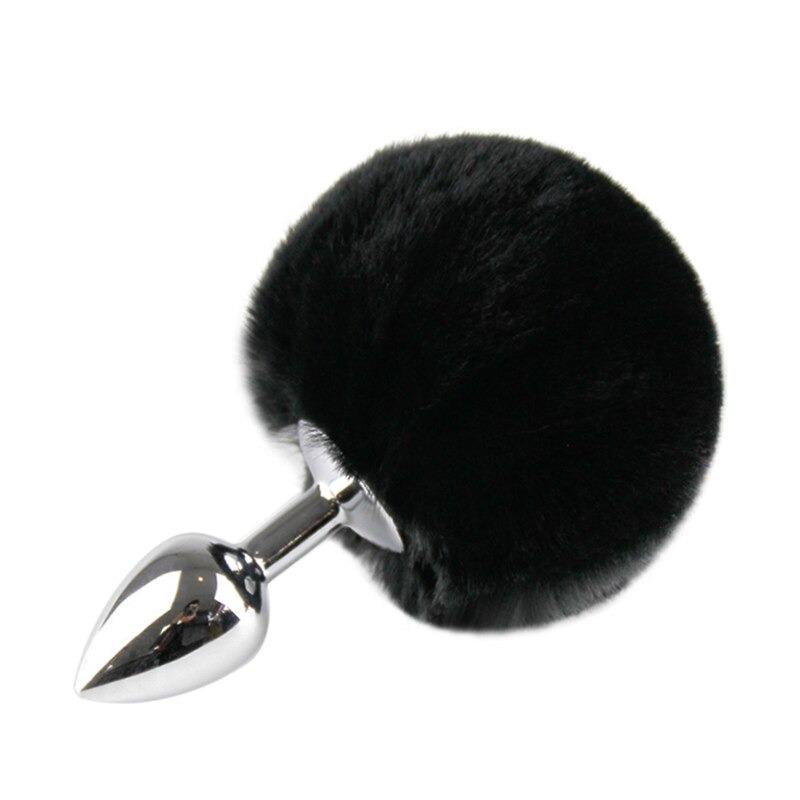פלאג אנאלי מתכתי עם זנב שפן שחור