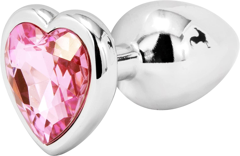 פלאג אנאלי מתכתי גדול עם אבן לב בצבע ורוד בהיר