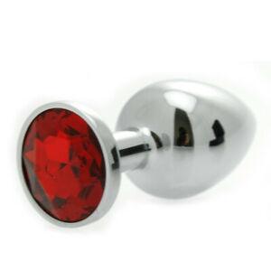 פלאג אנאלי מתכת גדול עם אבן אדומה