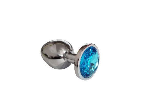 פלאג אנאלי מתכת קטן עם אבן בצבע תכלת