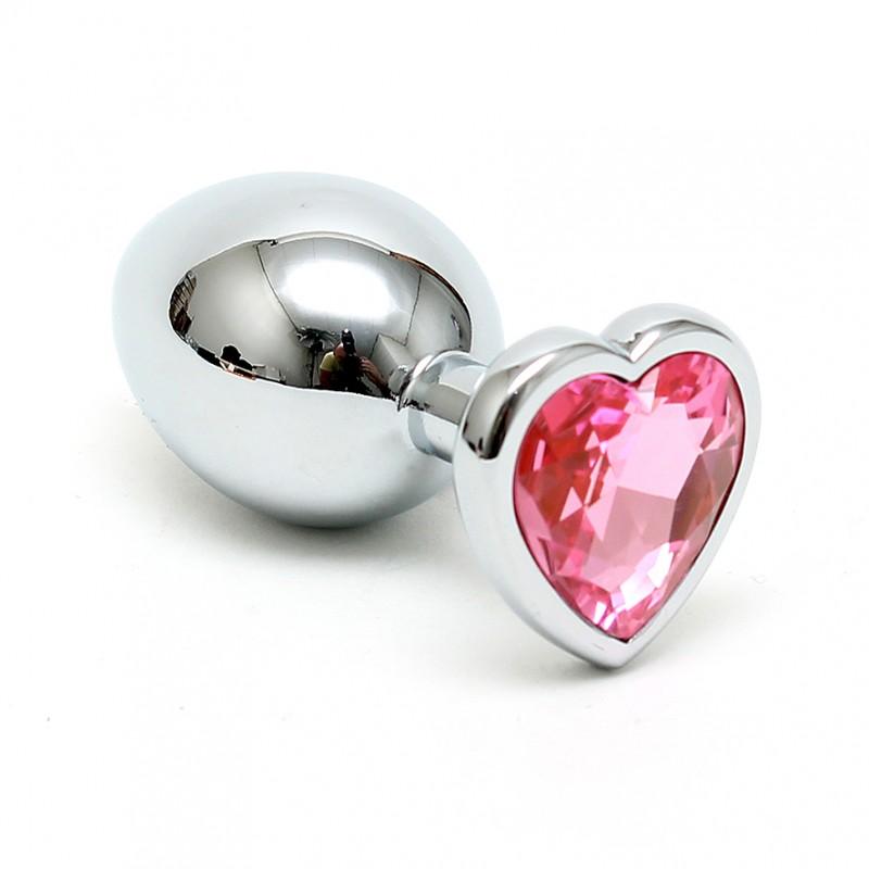 פלאג אנאלי מתכת קטן עם אבן לב בצבע ורוד