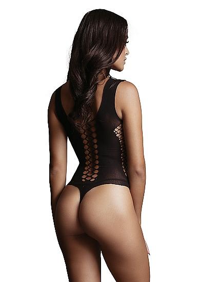 בגד רשת סקסי שחור דוגמת V