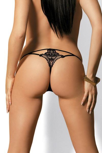 חוטיני שחור סקסי עם רקמה אחורית המדמה קעקוע