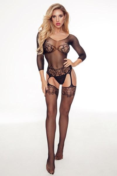 בגד רשת שחור סקסי פתוח במפשעות וישבן