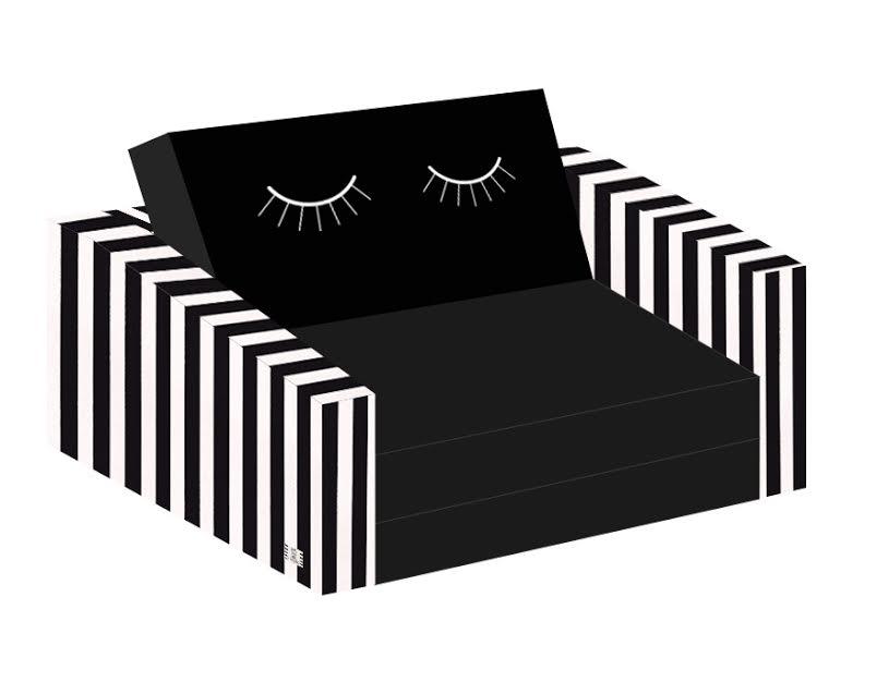 ספה לילדים עיניים עצומות שחור לבן