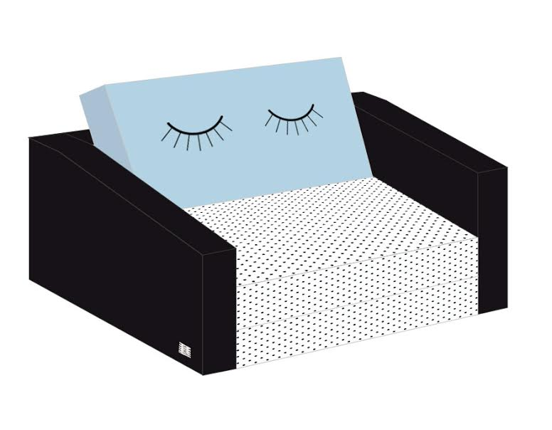 ספה לילדים דגם עיניים עצומות