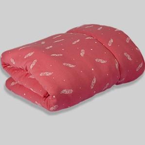שמיכה לתינוק טריקו ורודה נוצות