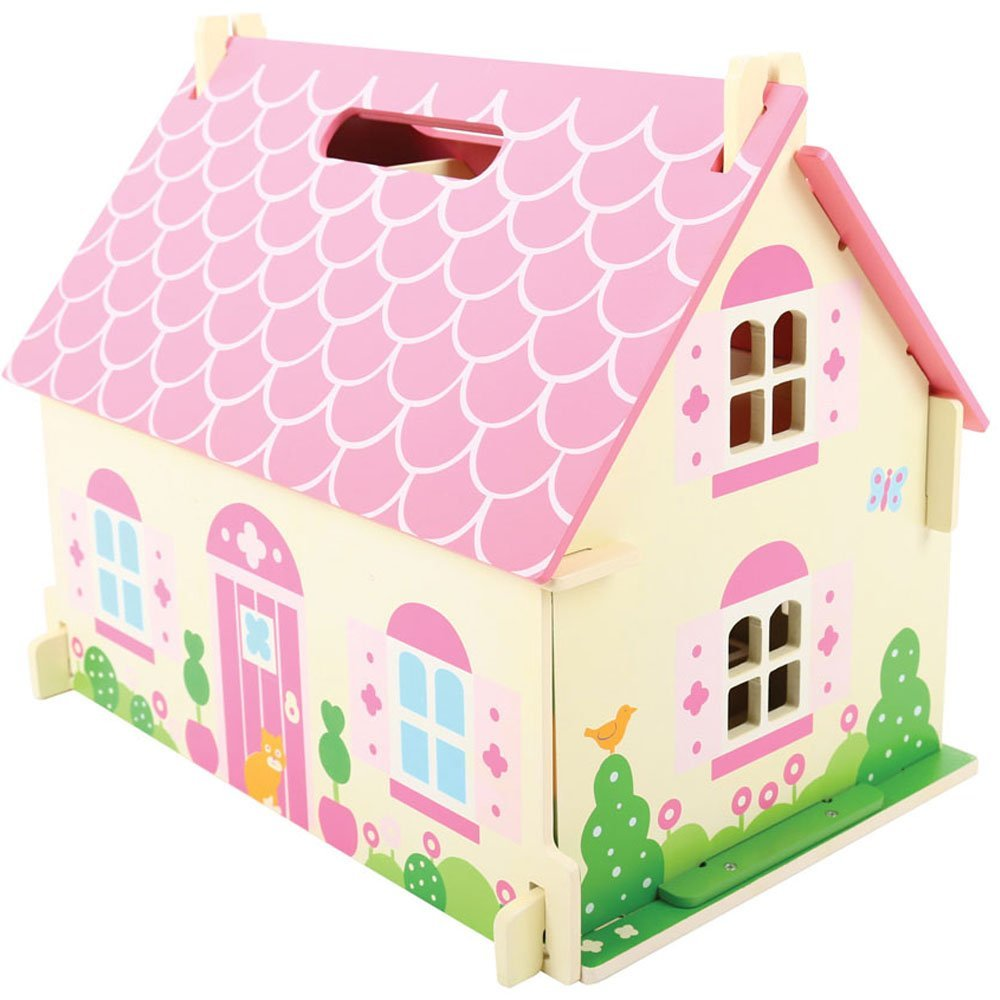 בית בובות לילדה גג ורוד