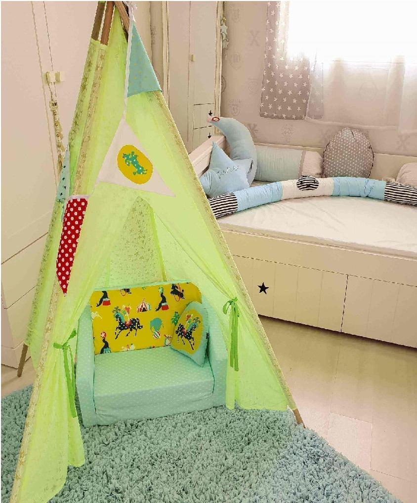 אוהל טיפי לחדר ילדים בד טריקו כוכבים
