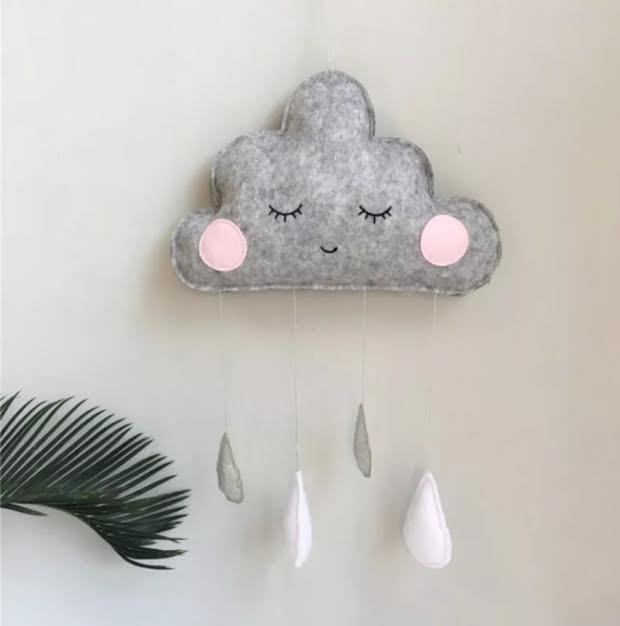 מובייל ענן טיפות אפור אקססוריז עיצוב חדר ילדים