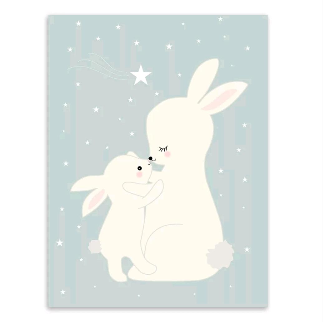 תמונה לחדרי ילדים ארנבים מחובקים