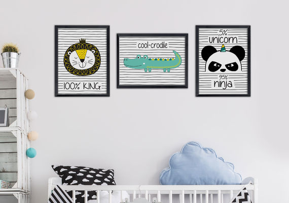 תמונה לחדר ילדים אריה שחור לבן