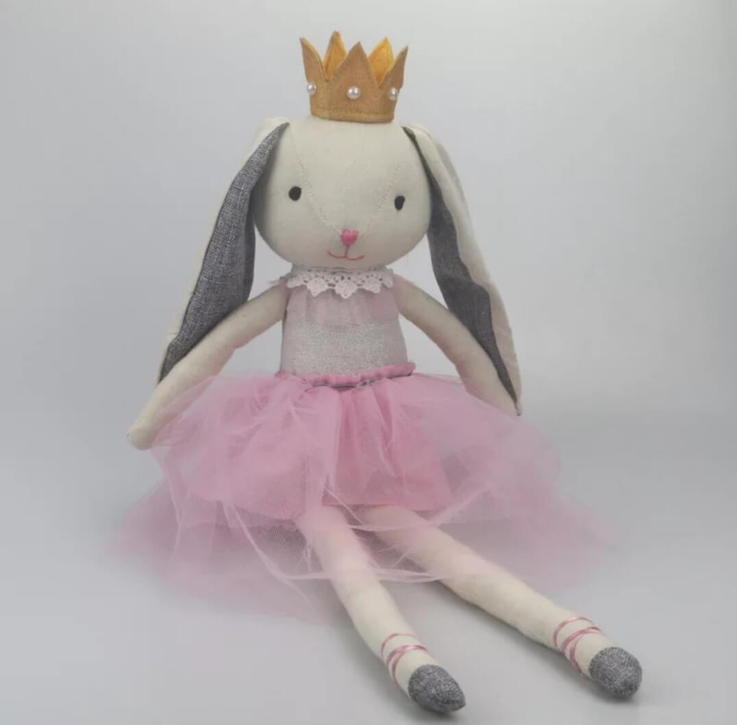 בובה לתינוק בובה לחדר ילדים דגם בובת בד ארנב עם כתר אקססוריז עיצוב חדר ילדים