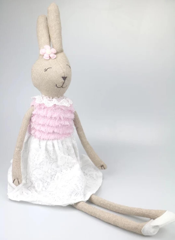 בובה לתינוק בובה לילדים בובת בד דגם ארנבת ורודה אקססוריז עיצוב חדר ילדים