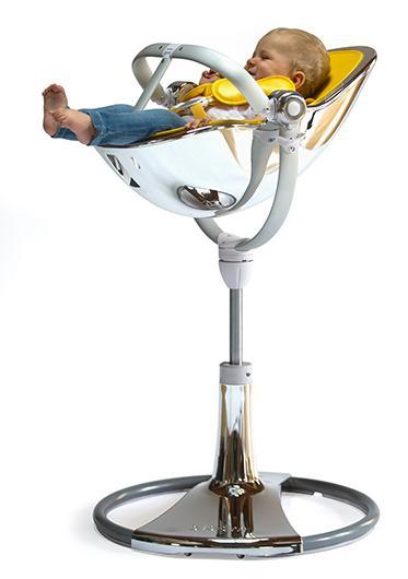 כסא אוכל לתינוק Bloom Fresco Chrome שלדה זהב ריפוד לבן