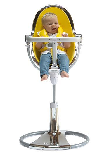 כסא אוכל לתינוק Bloom Fresco Chrome שלדה כסף ריפוד לבן