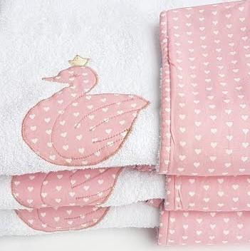 מגבת קפוצ'ון לתינוק דגם ברבור