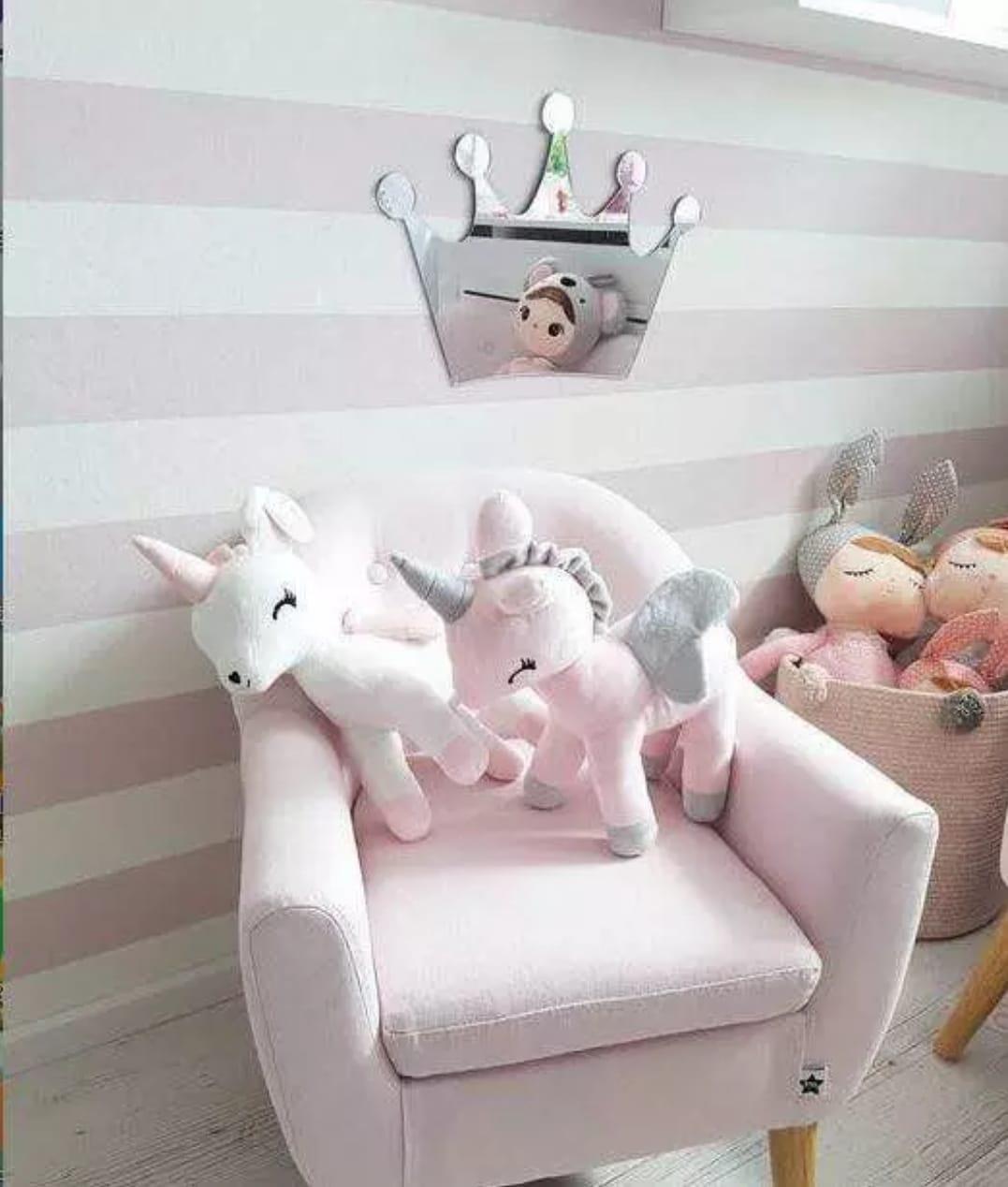 בובה רכה לתינוק חד קרן במבי לבן אקססוריז עיצוב חדר ילדים - תמונה 2