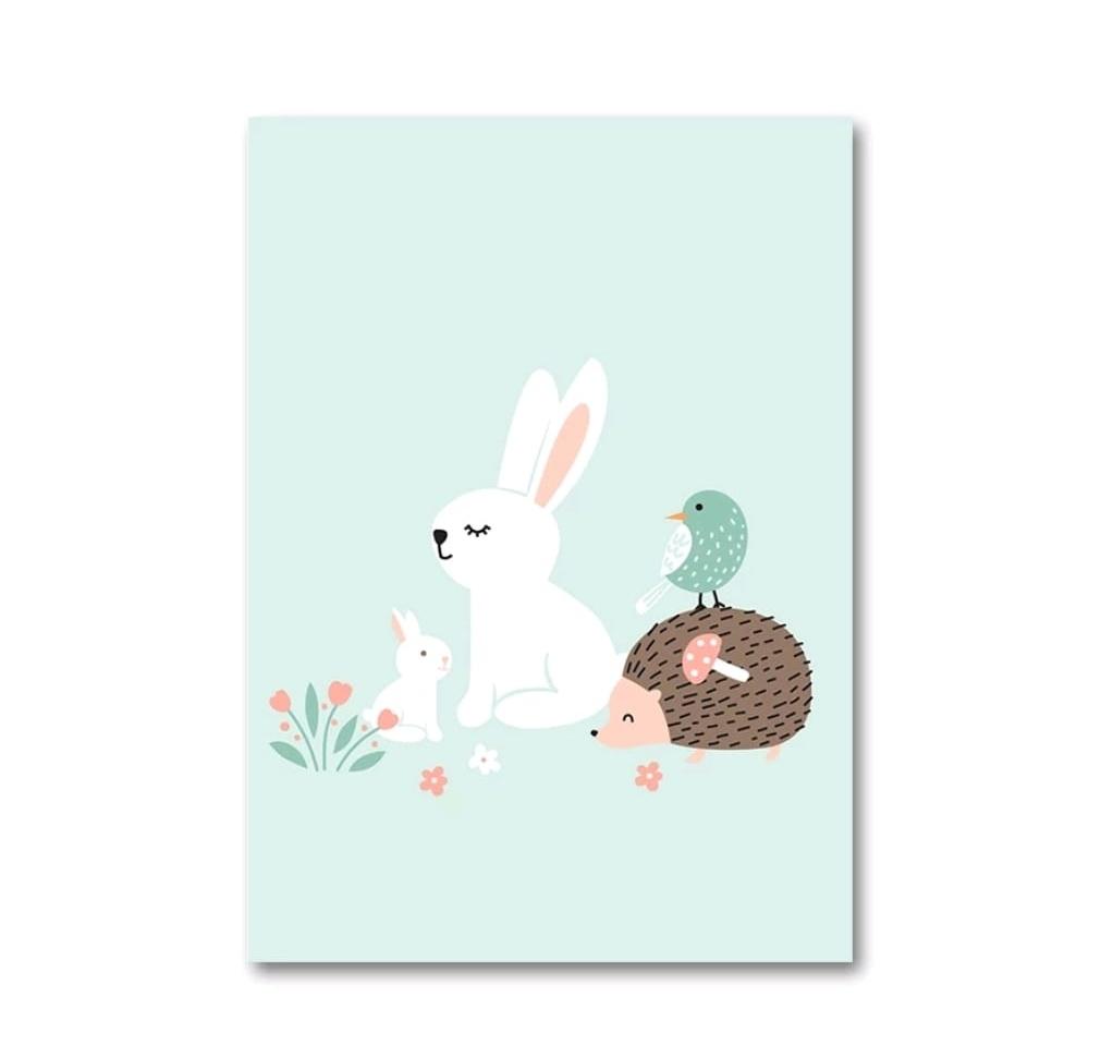 תמונה לחדר ילדים ארנב וקיפוד תכלת