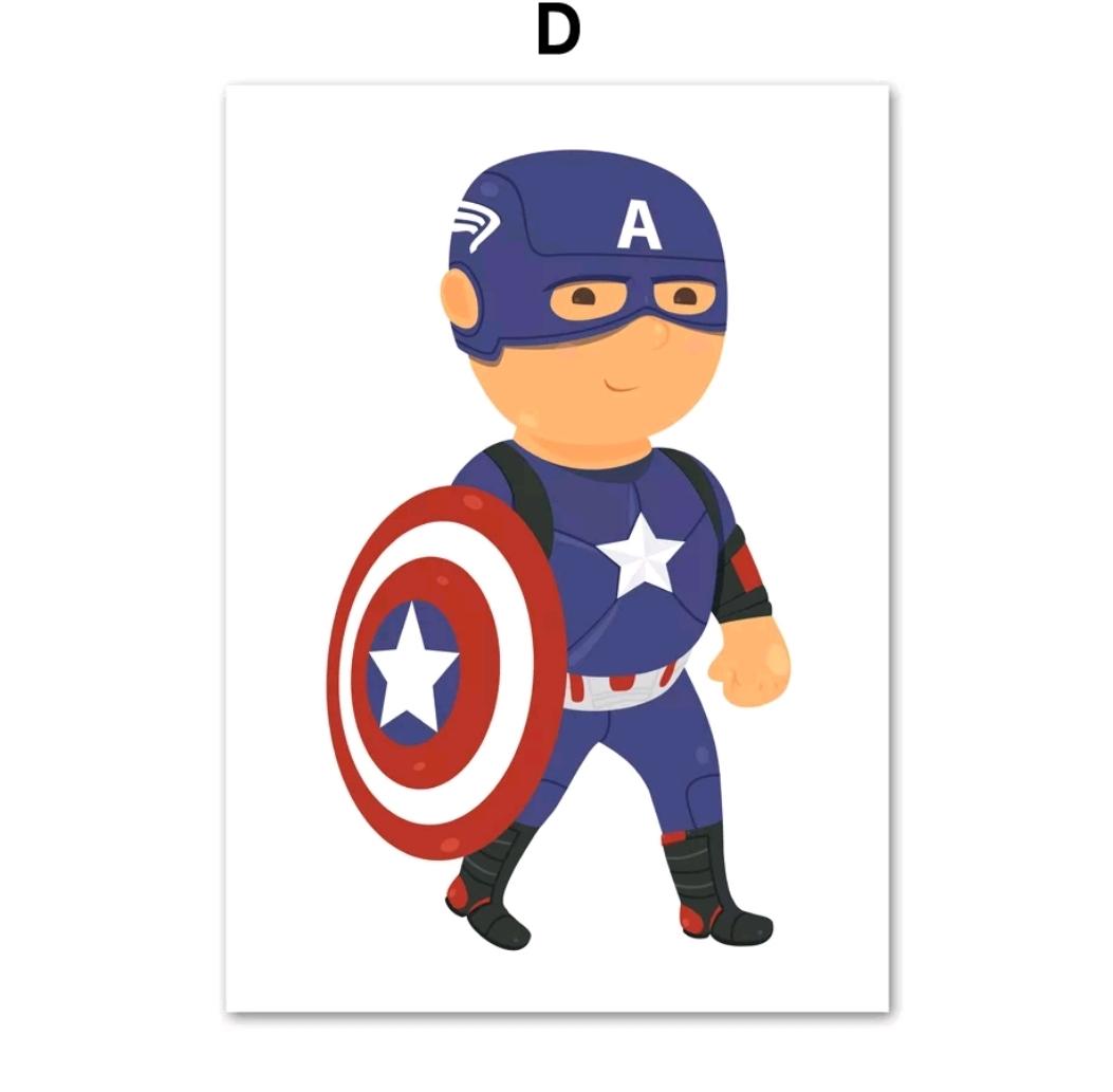 תמונה לחדר ילדים בדמות גיבורי על קפטן אמריקה