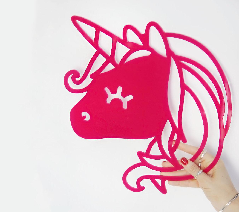 אקססוריז מדבקת קיר חד קרן לעיצוב חדר ילדות עיצוב חדר ילדים מדבקת חד קרן בצבע ורוד