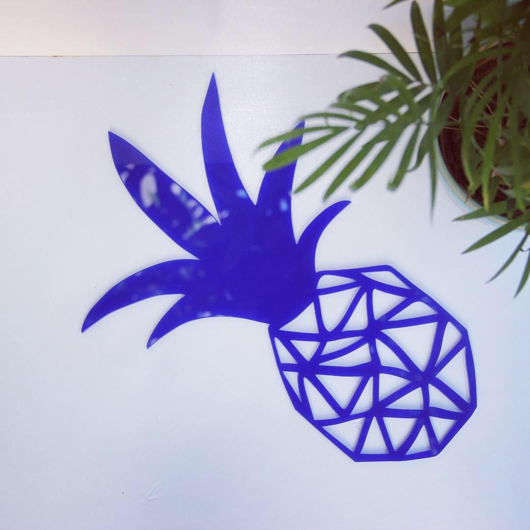 אקססוריז מדבקות קיר לחדר ילדים עיצוב החדר מדבקת קיר אננס כחול