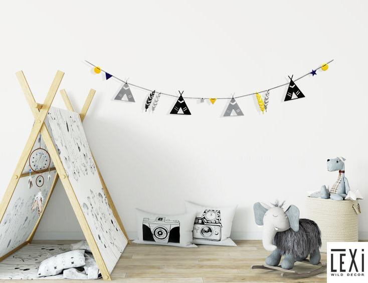 אקססוריז דגלונים אינדיאני עיצוב חדר ילדים שרשרת דגלונים אורבנית