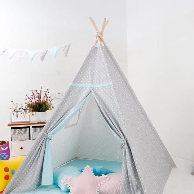 אוהל טיפי לחדרי ילדים- אפור נקודות