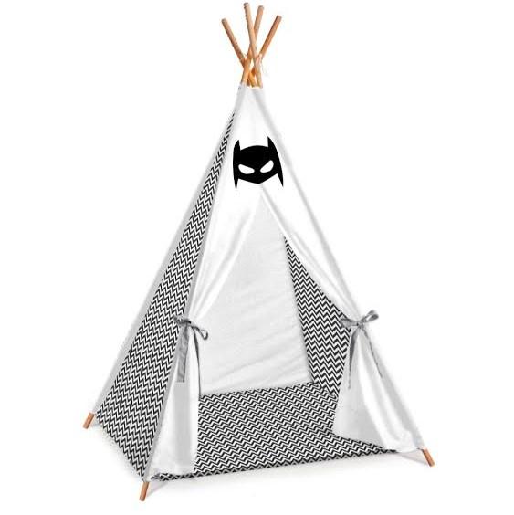 אוהל טיפי לחדר ילדים  דגם באטמן שחור לבן