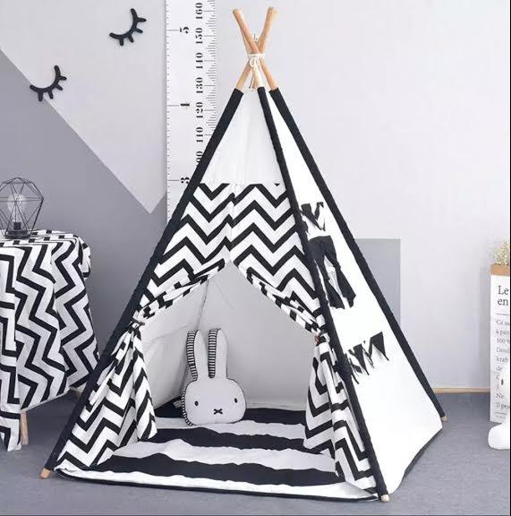 אוהל טיפי לחדר ילדים שחור לבן