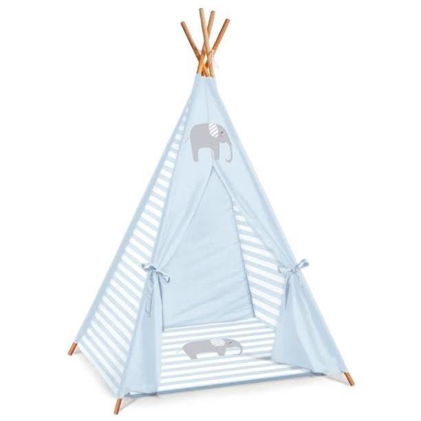 אוהל טיפי לחדרי ילדים דגם תכלת פסים עם פיל