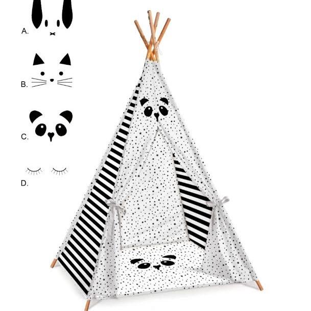 אוהל טיפי לחדר ילדים דגם פנדה שחור לבן