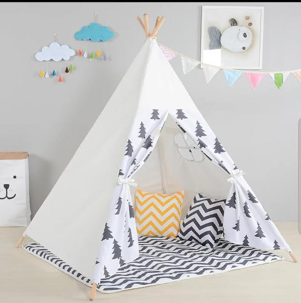 אוהל טיפי לילדים- לבן ואפור